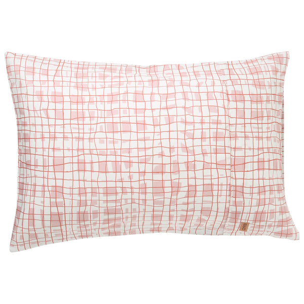 Scribble Tartan Linen Pillowcases- 2Pce