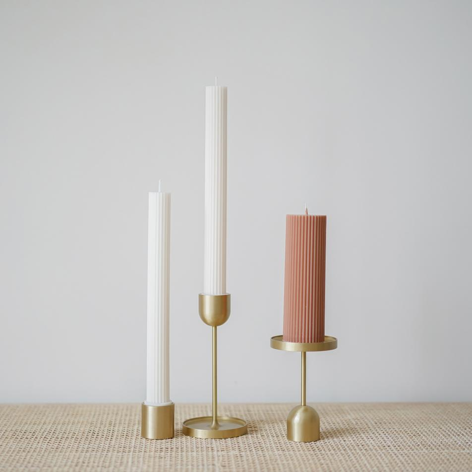 Wide Column Pillar Candle- Cream White
