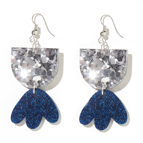 Bambi Earrings// Chunky Silver Glitter w Navy Glitter