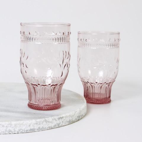 Glass Tall Tumbler- Pink
