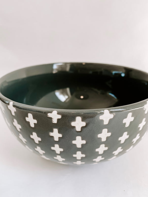 Grey/ White Cross Bowl