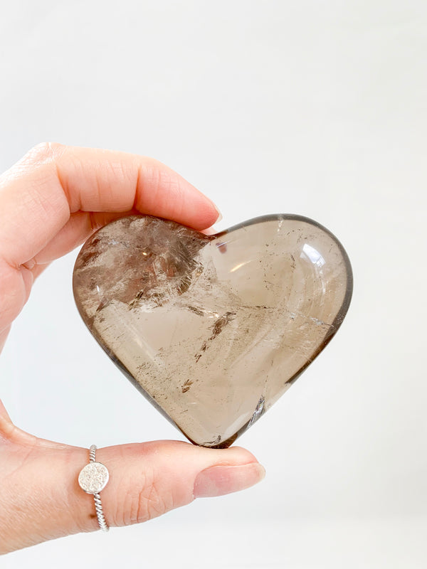 Smokey Quartz Heart Lge. Brazil. Aids in grounding transformation