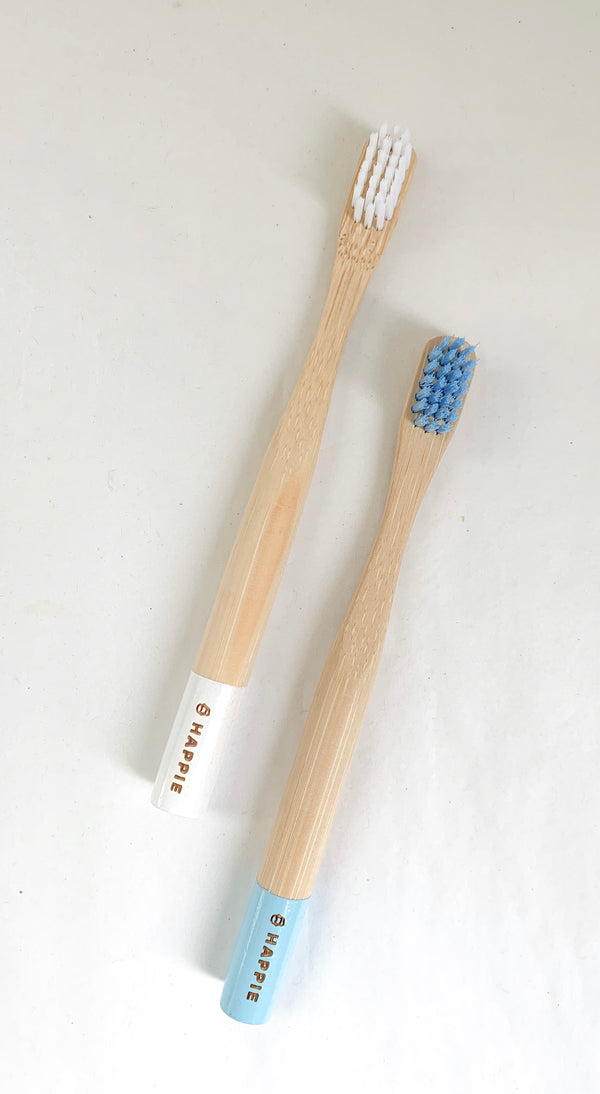 Natural Bamboo Kids Toothbrush. Medium Bristle Pack 2- Blue & White