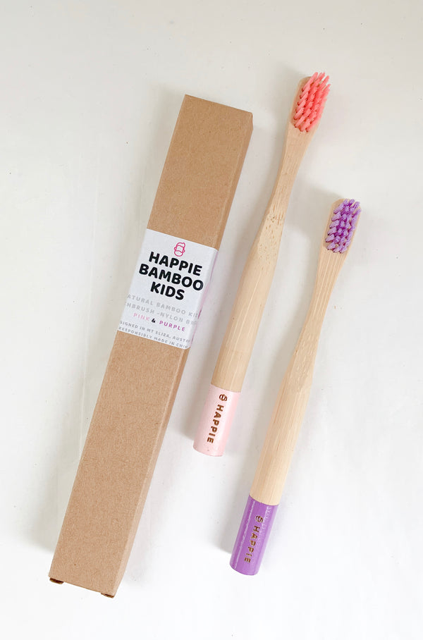Natural Bamboo Kids Toothbrush. Medium Bristle Pack 2- Pink & Purple
