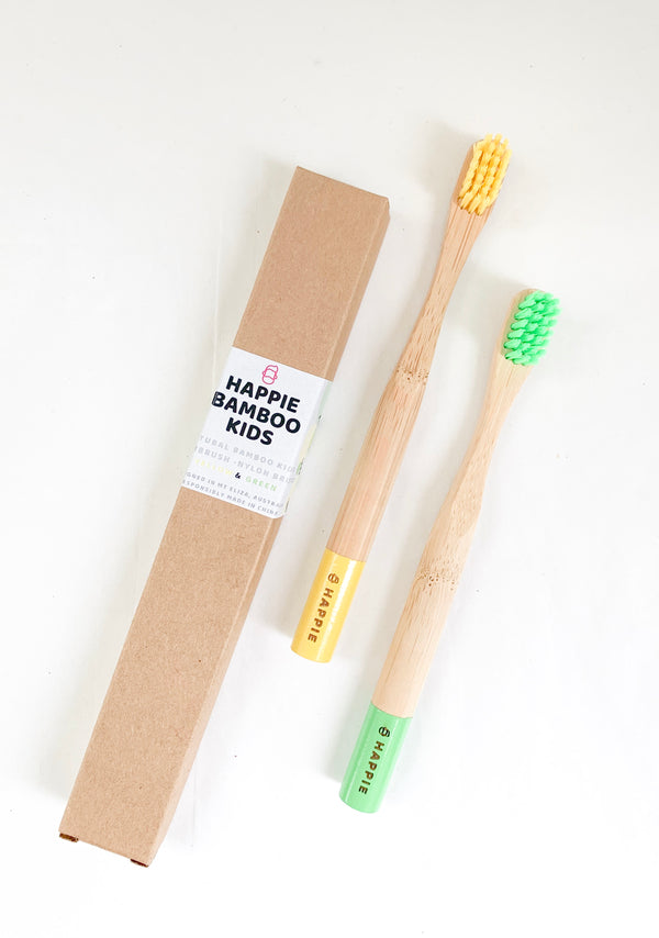 Natural Bamboo Kids Toothbrush. Medium Bristle Pack 2- Yellow & Green