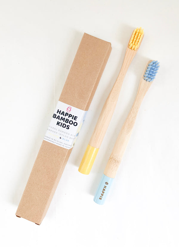 Natural Bamboo Kids Toothbrush. Medium Bristle Pack 2- Blue & Yellow