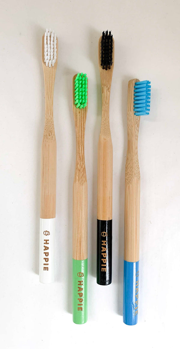 Natural Bamboo Adult Toothbrush. Medium Bristle Pack 4- Blue, Green, White & Black