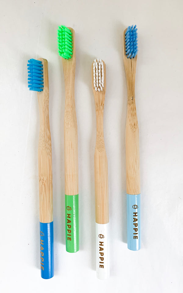 Natural Bamboo Adult Toothbrush. Medium Bristle Pack 4- Blue, Green, White & Dark Blue