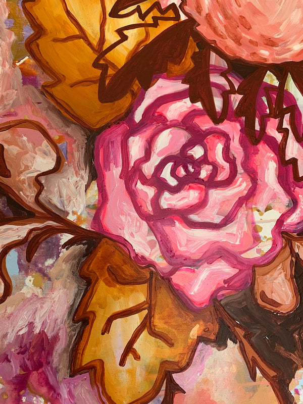 "Original Art by Rebecca Kate. ""Bouquet Brigade"" 800 x 800cm  Framed in Oak"