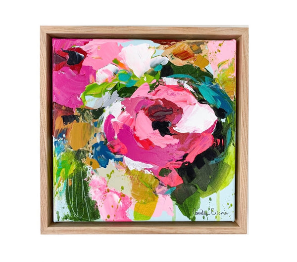 "Original Art by Camilla Cicoria ""In Full Bloom"" 28 x 28cm Ash Frame"