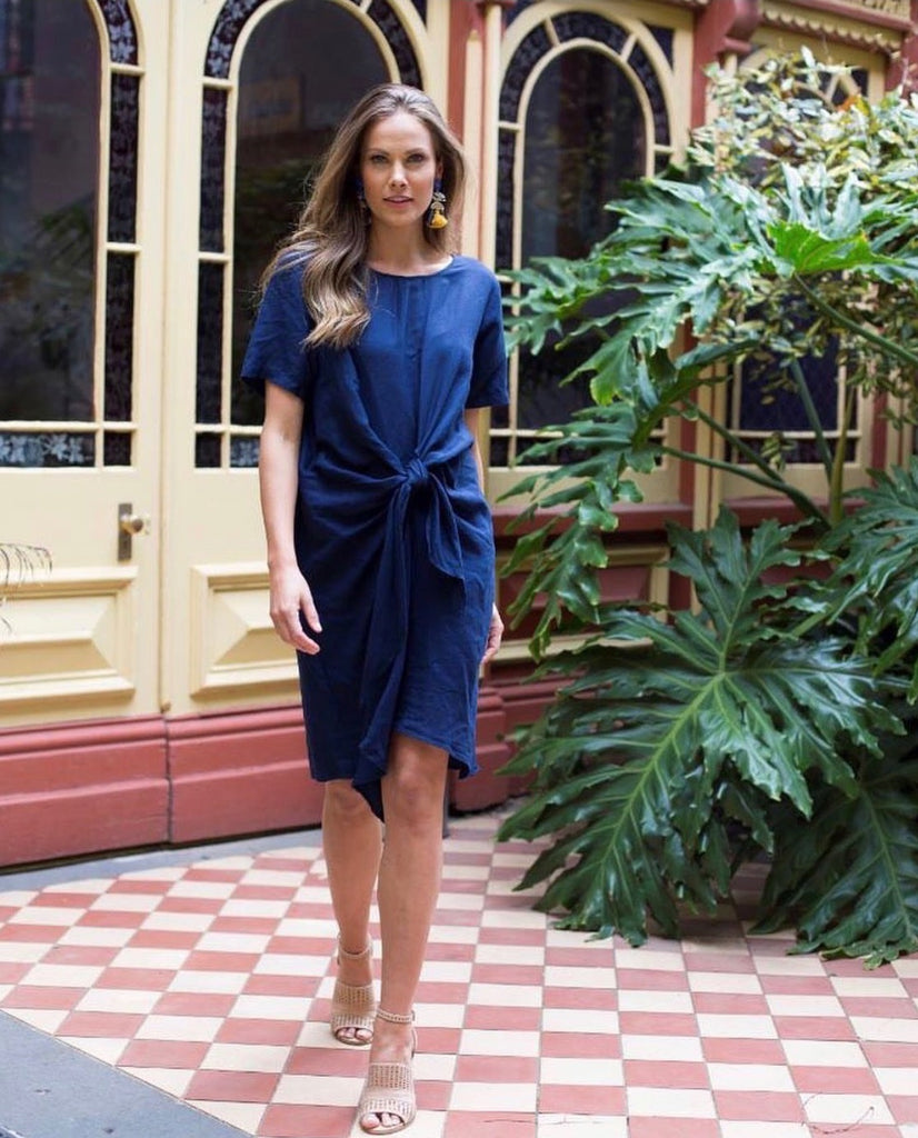 Theo Tie Dress. Navy