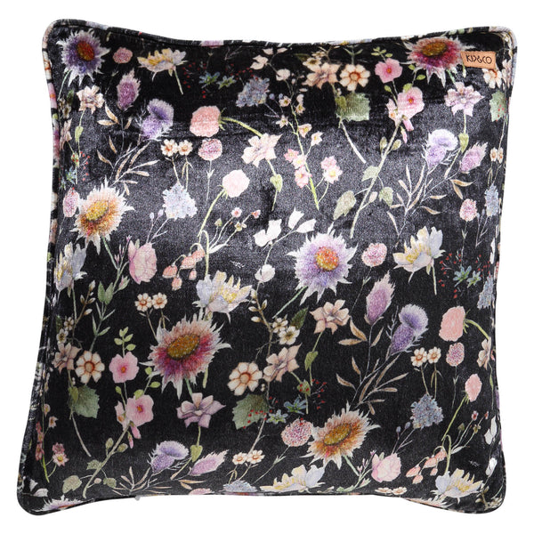 Bouquet Black Velvet Cushion