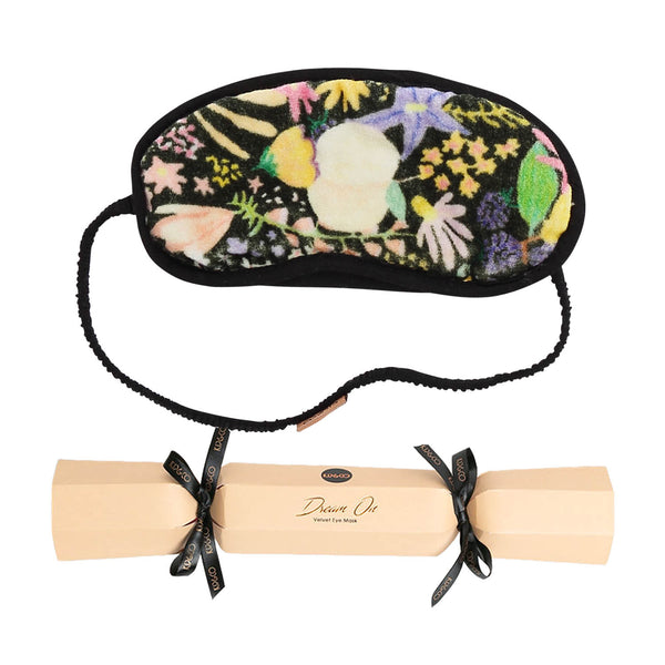 Meadow Black printed Velvet Eye Mask Bon Bon