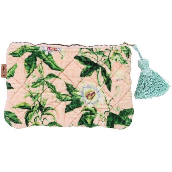 Pink Passion Printed Velvet Cosmetics Purse