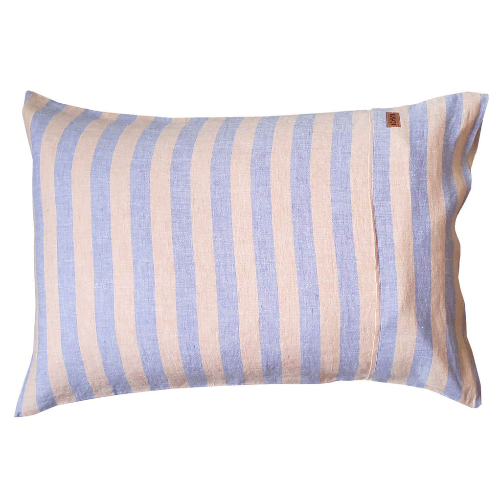 Sicilian Seaside Stripe Linen Pillowcases- 2Pce Set
