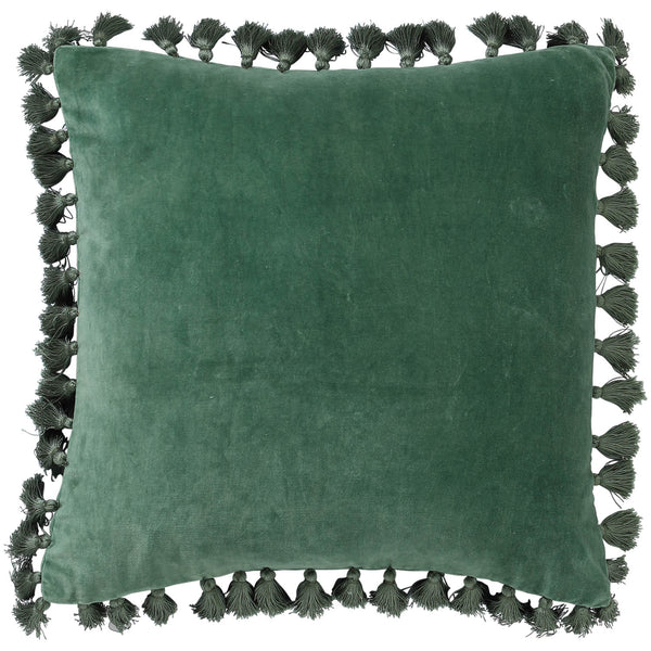 Succulent Green Velvet Tassel Cushion