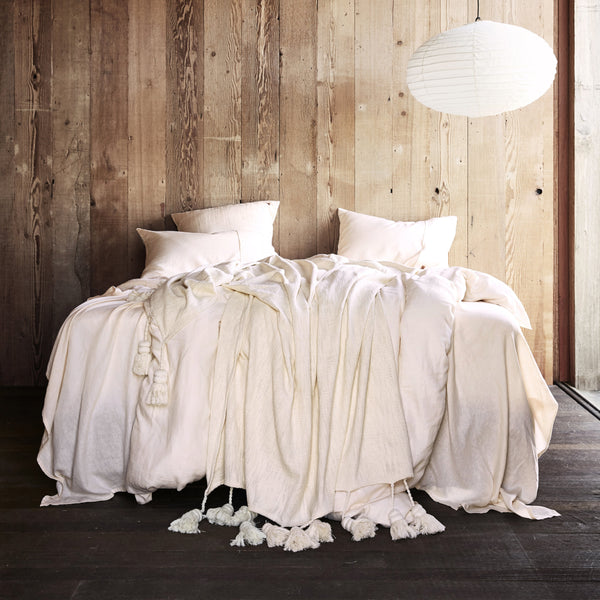 Coconut Linen Fitted Sheet- Queen