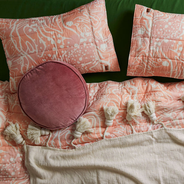 Blood Orange Velvet Pea Cushion