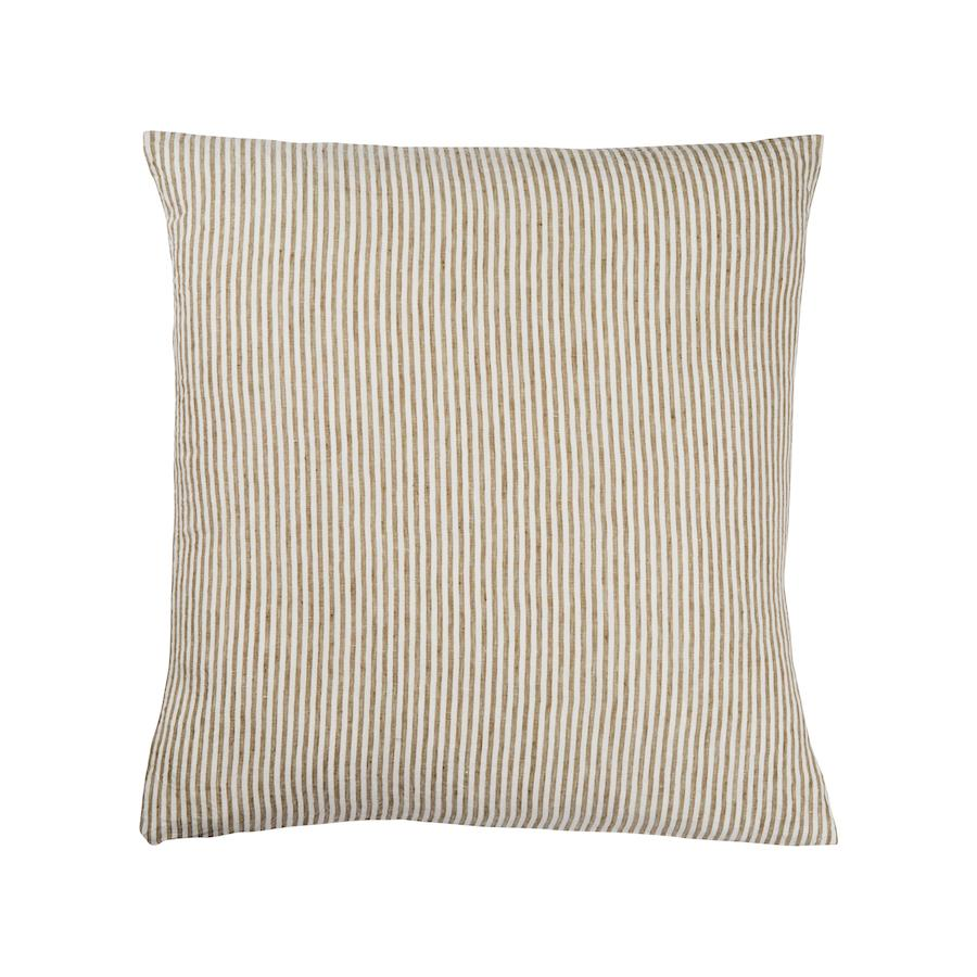 Linen Euro Pillowcase Set Moss Stripe