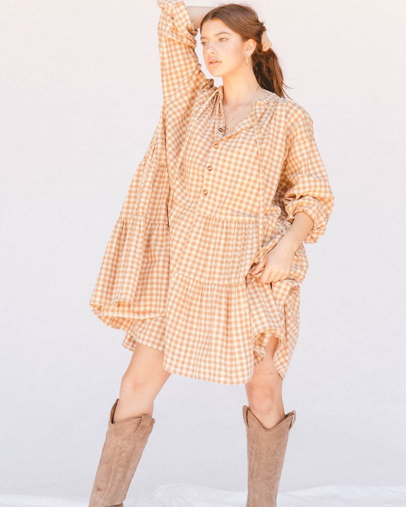 Avalon Smock Dress. Caramel Gingham *Pre Order Due Late November
