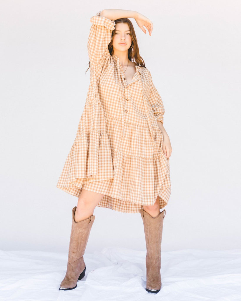 Avalon Smock Dress. Caramel Gingham