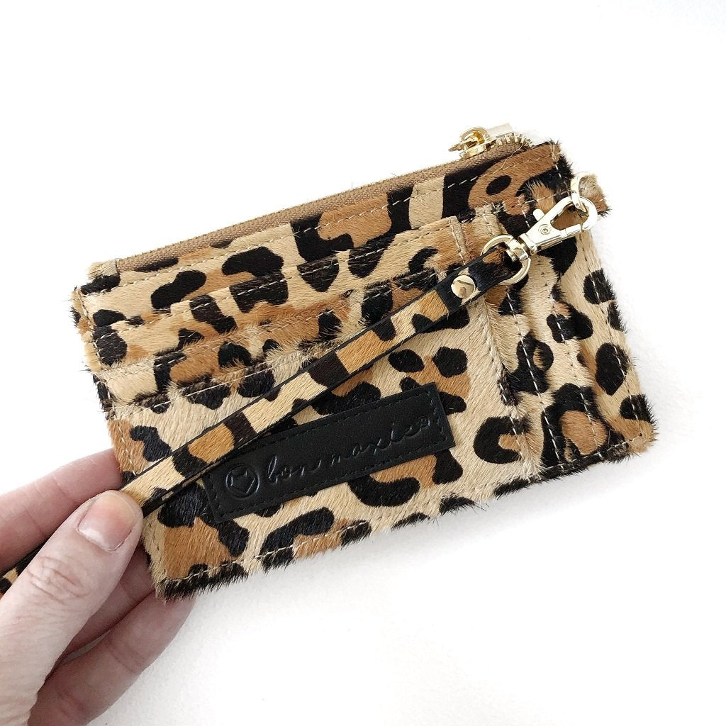 Mighty Mini Wallet Leopard. Printed Hide.