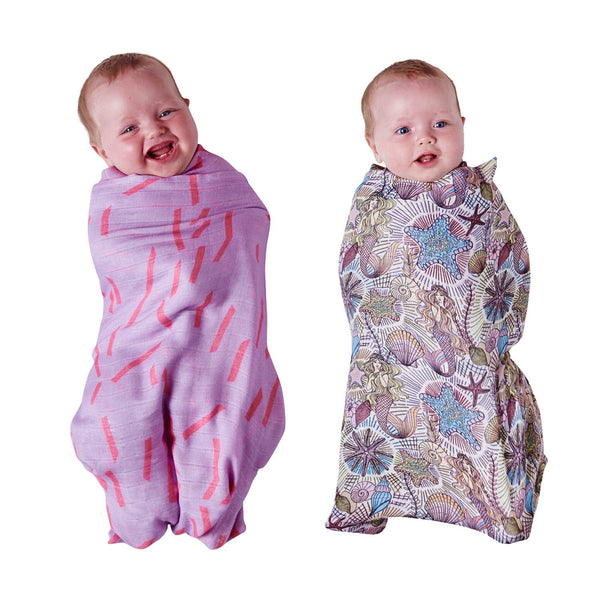 Neptune's Kingdom & Dash Purple Bamboo Swaddle Set