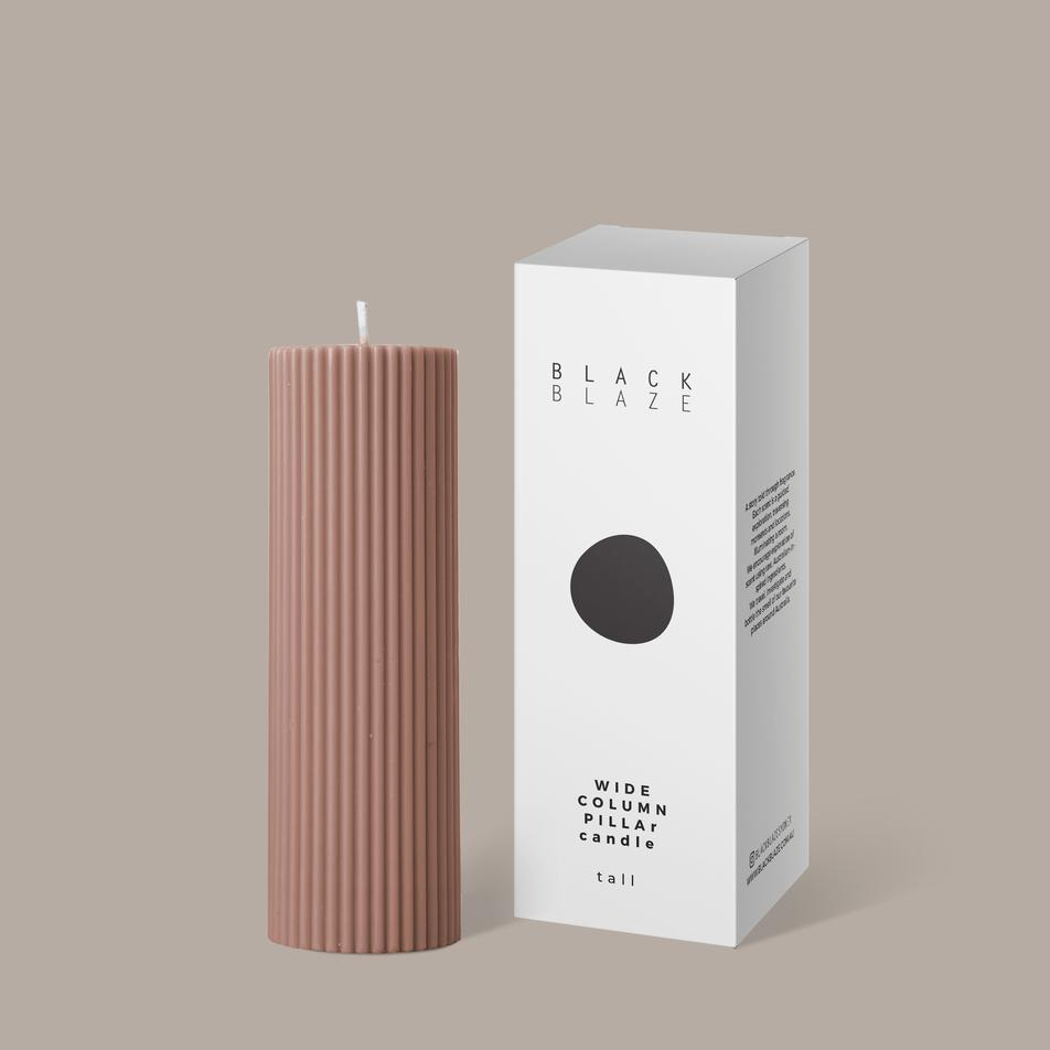 Wide Column Pillar Candle- Peach
