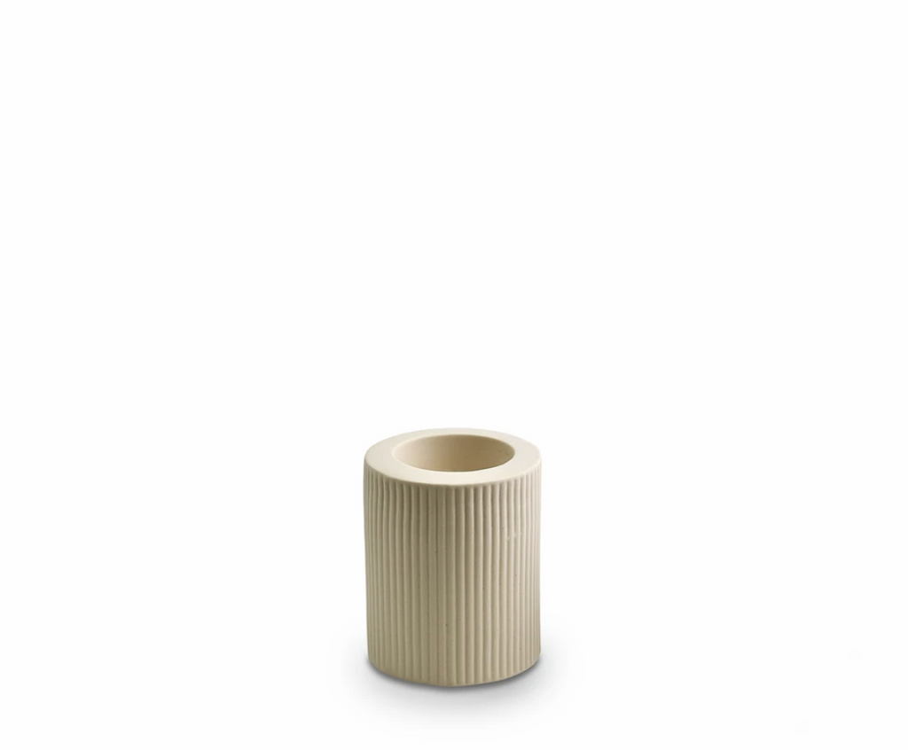 Ribbed Infinity Candle Holder Cream Med (RCHCRM)