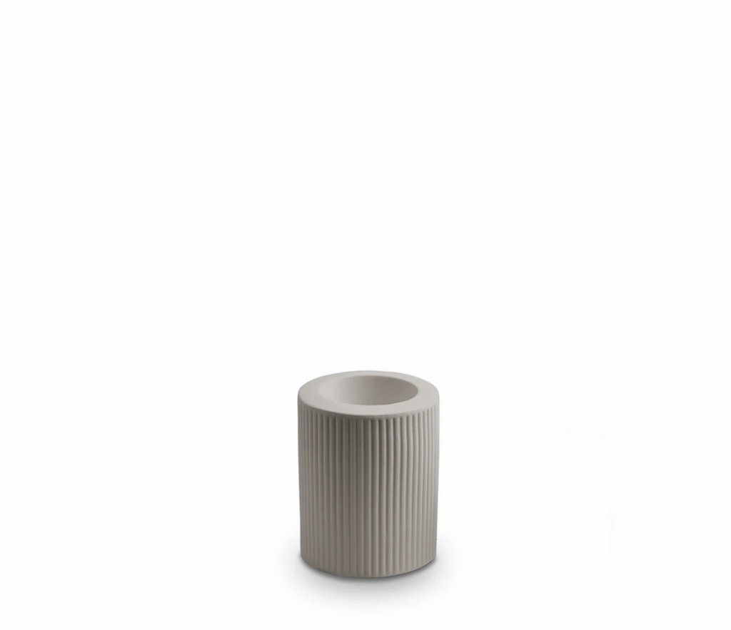 Ribbed Infinity Candle Holder Light Grey Med (RCHLGM)