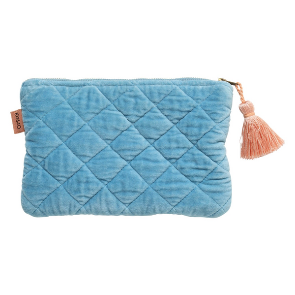 Aquamarine Blue Velvet Quilted Cosmetics Purse