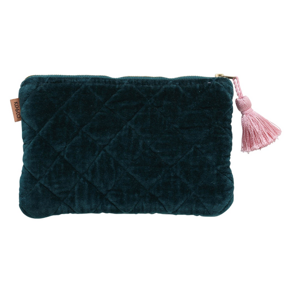 Alpine Green Velvet Quilted Cosmetics Purse