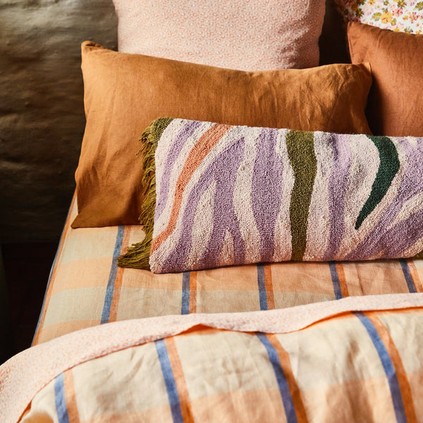 Theo Check Linen Fitted Sheet Peach Soda- Queen