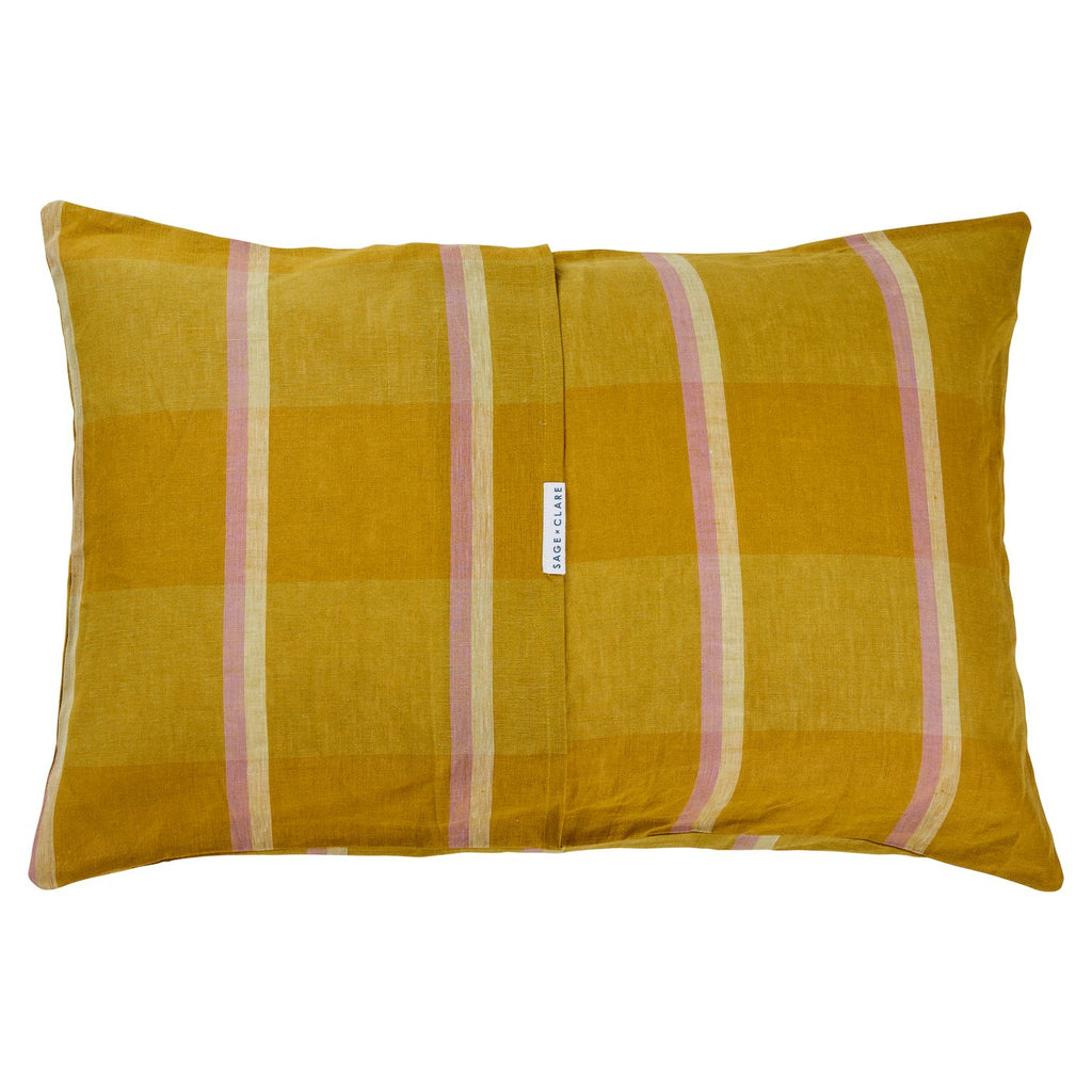 Theo Check Linen  Pillowcase Set 2- Olive