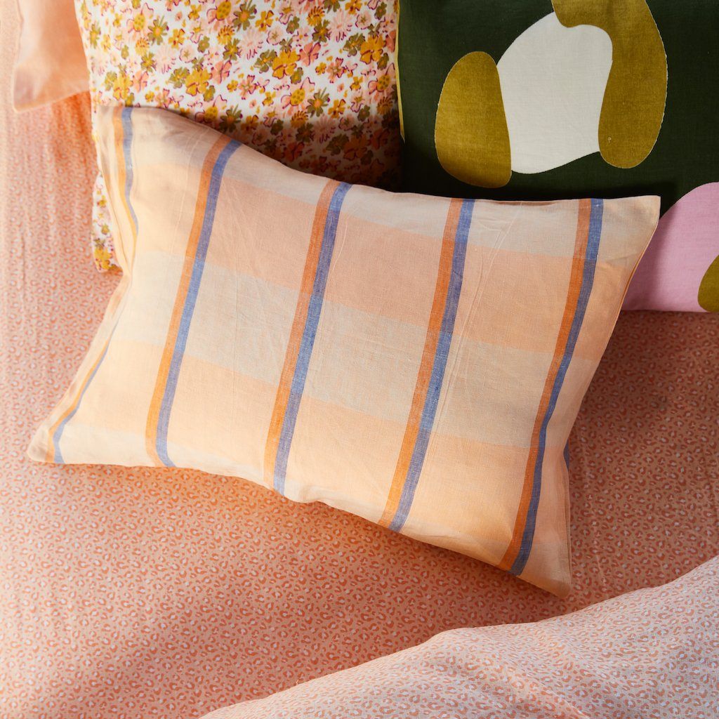 Theo Check Linen  Pillowcase Set 2- Peach Soda