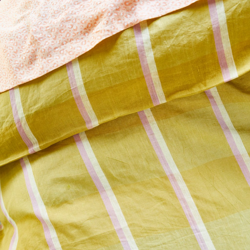 Theo Check Linen Quilt Cover- Olive Queen