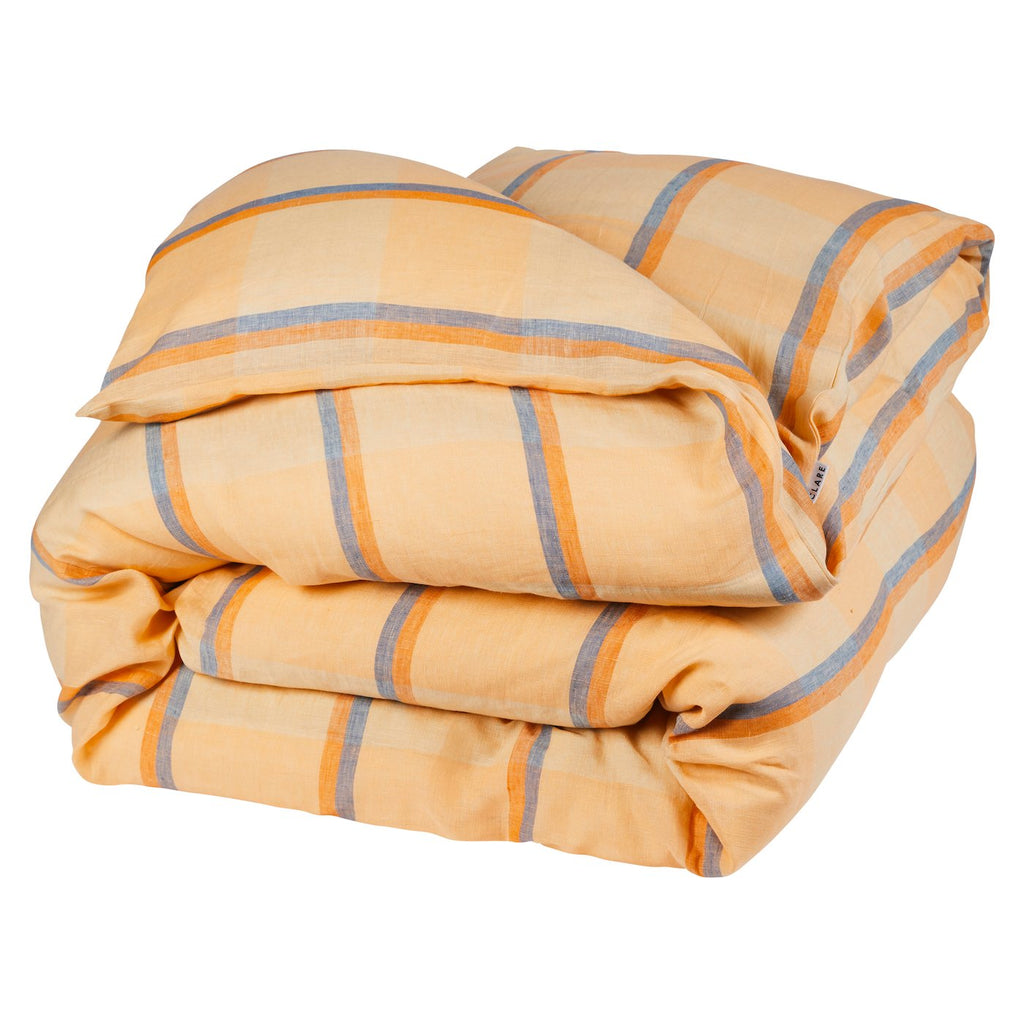 Theo Check Linen Quilt Cover Peach Soda- Queen