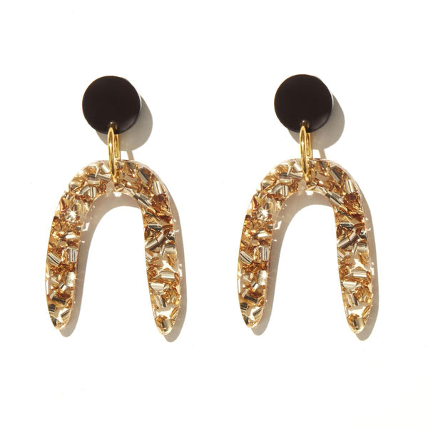Candice Earrings// Chunky Gold Glitter w Black Stud