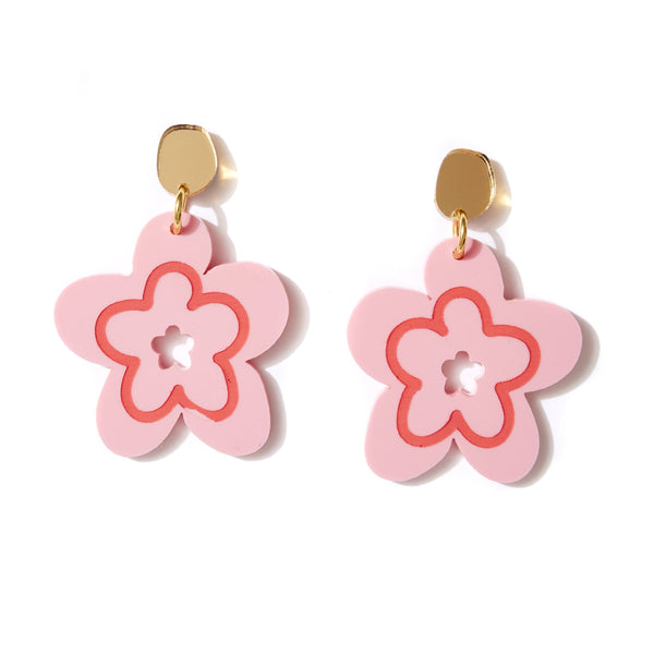 Mallow Pink Flower Earrings