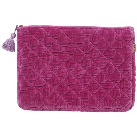 Passionfruit Velvet Quilted Laptop Carry All