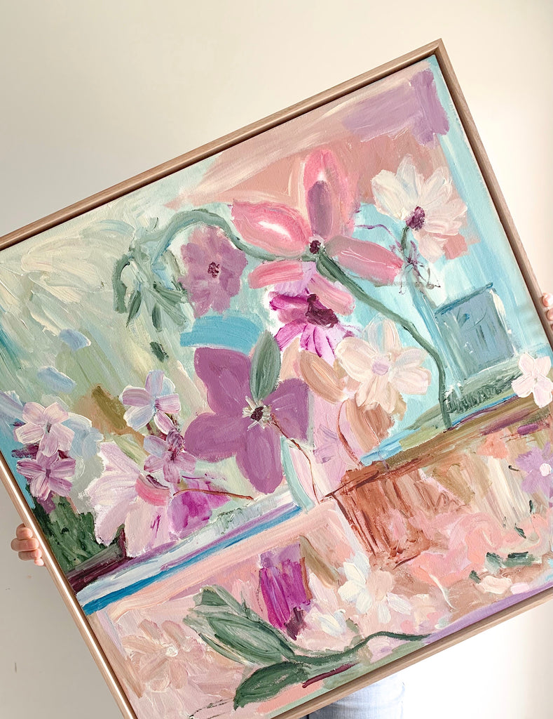 "Original Art by Aliki. ""Bloom"" 76 x 76cm Framed in Oak"