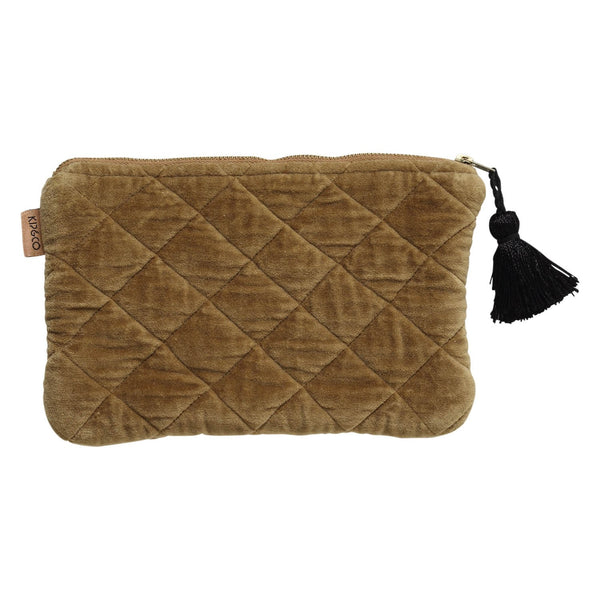 Scorched Almond Velvet Quilted Cosmetics Purse