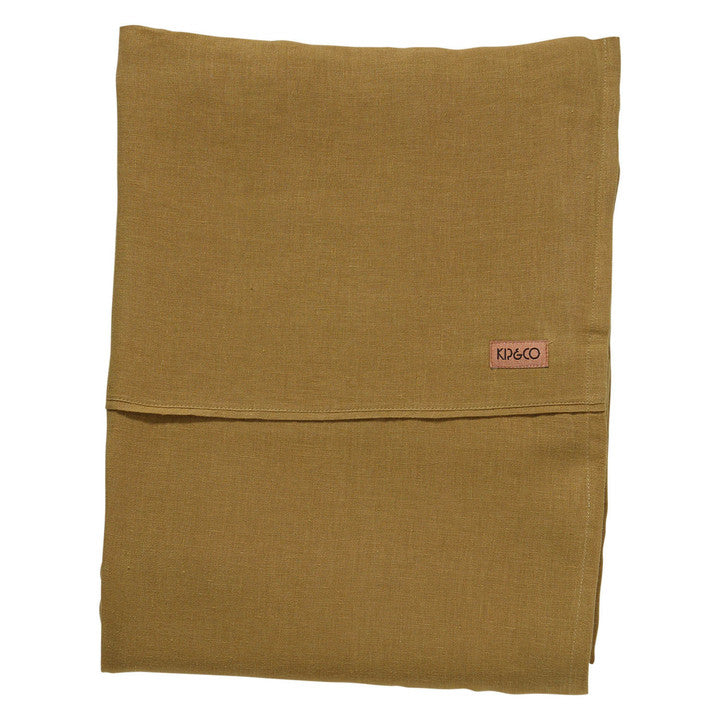 Tobacco Linen Flat Sheet Kip & Co- Queen