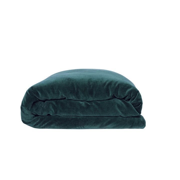 Alpine Green Velvet Quilt Cover- Queen