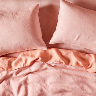 Soft Rose Linen Fitted Sheet- Queen