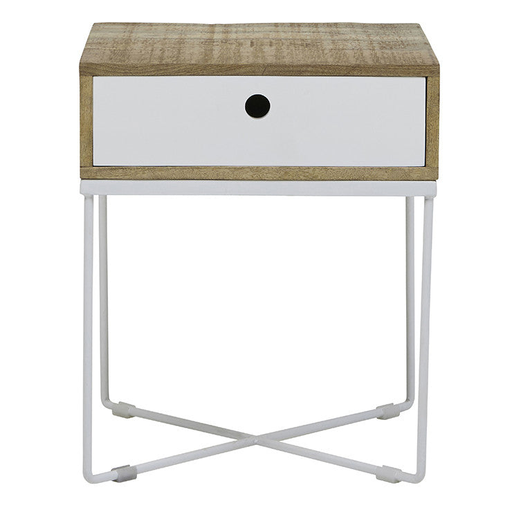 Flinders Bedside Table- Natural/ White