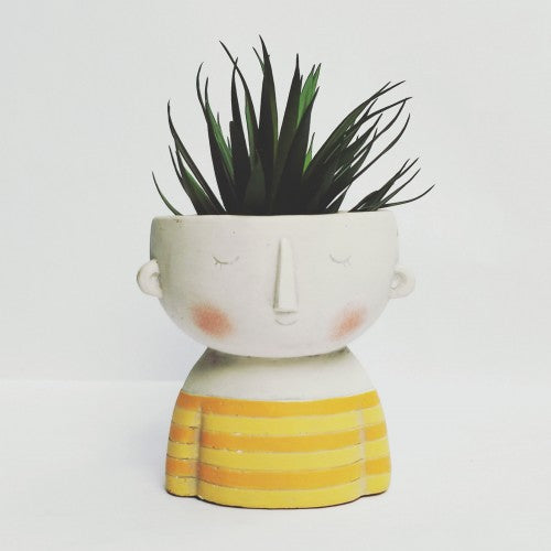 Girl Planter Yellow Sml