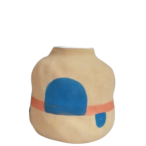 Sand Abstract Blue/ Red Vase 12.5cm