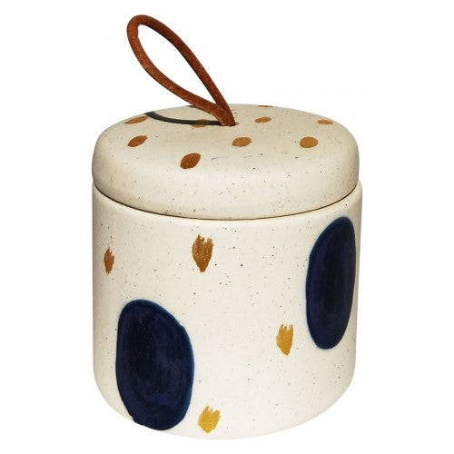 Navy Abstract Spot Canister sml 7cm