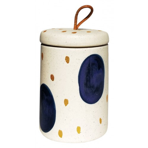 Navy Abstract Spot Canister med 11cm